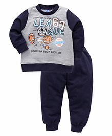 Teddy Full Sleeves T-Shirt And Pant Set 67 League Print - Grey & Navy
