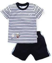 Teddy Half Sleeves Stripe T-Shirt And Shorts Teddy Patch - White Navy