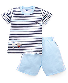 Teddy Half Sleeves Stripe T-Shirt And Shorts Teddy Patch - White Blue