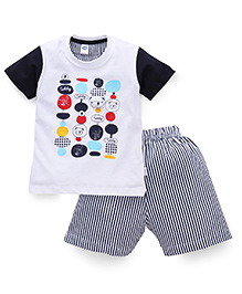 Teddy Half Sleeves Printed T-Shirt And Stripe Shorts - White Navy