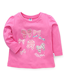 Teddy Full Sleeves T-Shirt Bow Print - Pink