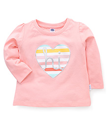Teddy Full Sleeves T-Shirt Heart Print - Peach