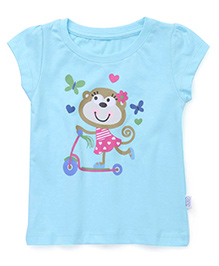 Teddy Short Sleeves Top Monkey Print - Aqua Blue