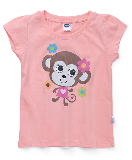 Teddy Short Sleeves Top Monkey Print - Peach