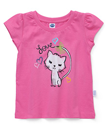 Teddy Short Sleeves Top Cat Print - Pink