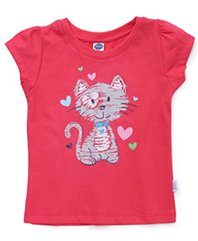 Teddy Short Sleeves Top Cat Print - Coral