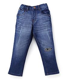 Gini & Jony Dark Wash Jeans With Patch - Blue