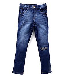Gini & Jony Dark Wash Jeans With Patch - Blue