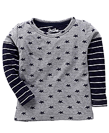 Gini & Jony Full Sleeves T-Shirt Star Print - Grey