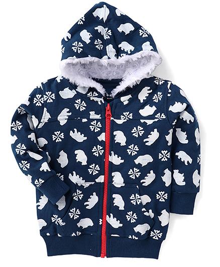 Gini & Jony Full Sleeves Hoodie Allover Polar Bear Print - Blue