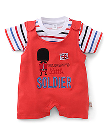 ToffyHouse Romper With T-Shirt Mummy's Little Soldier Patch - Red