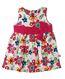 ToffyHouse Regular Neck Frock Floral Print - Pink And White