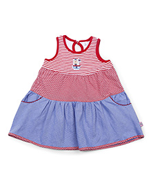 ToffyHouse Regular Neck Frock With Pockets - Red And Blue