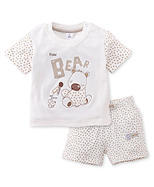 ToffyHouse Shorts And Half Sleeves T-Shirt Bear Print - Off White
