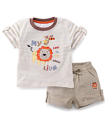 ToffyHouse Half Sleeves T-Shirt And Shorts Lion Print - Beige