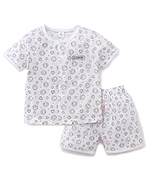 ToffyHouse Half Sleeves Night Suit Bear Print - White And Beige