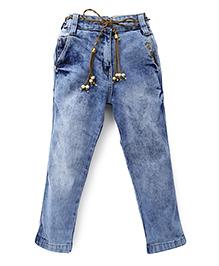 Little Kangaroos Full Length Jeans With Fancy Belt - Light Blue