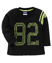 Play by Little Kangaroos Full Sleeves Winter Wear T-Shirt 82 Print - Black
