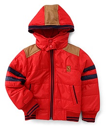 Little Kangaroos Full Sleeves Hooded Jacket - Red