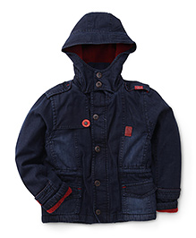 Little Kangaroos Full Sleeves Hooded Denim Jacket - Dark Blue