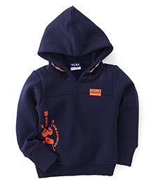Play by Little Kangaroos Full Sleeves Printed Hooded Sweatshirt - Navy