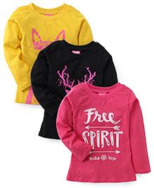 Play by Little Kangaroos Winter Wear Tops Set of 3 - Pink Black Yellow