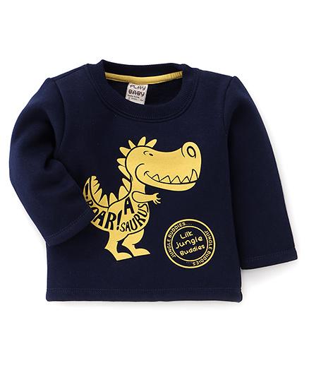 Play by Little Kangaroos Full Sleeves Winter Wear T-Shirt Dinosaur Print - Navy