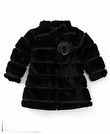 Little Kangaroos Full Sleeves Padded Fur Jacket - Black
