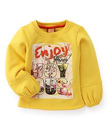 Little Kangaroos Full Sleeves Top Enjoy Print - Yellow