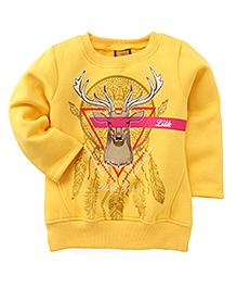 Little Kangaroos Winter Wear Deer Print T-Shirt - Yellow