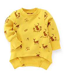 Little Kangaroos Full Sleeves Deer Print Sweatshirt - Yellow