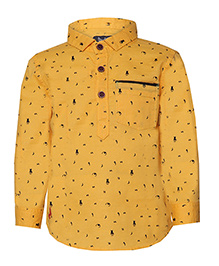 Tales & Stories Stylish Printed Cotton Shirt - Yellow