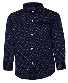 Tales & Stories Trendy Printed Cotton Shirt - Navy Blue
