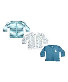 FS Mini Klub Full Sleeves Vest Set of 3 - White And Blue