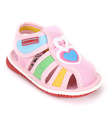 Cute Walk By Babyhug Sandals Heart Applique - Pink
