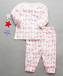 De-Nap Flamingo Print Top & Pajama Set - White & Pink