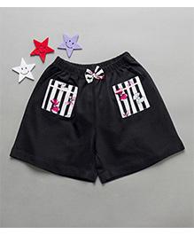 De-Nap Pocket Shorts With Bow - Navy Blue
