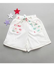 De-Nap Elephant Print Belt Shorts - White