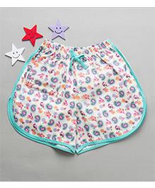 De-Nap Paisley Print Cotton Shorts - Aqua Blue