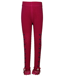Cutecumber Partywear Leggings Embellished Hem - Pink