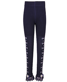Cutecumber Partywear Leggings Embellished Hem - Navy Blue