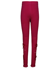 Cutecumber Partywear Leggings Floral Motif & Pearl Detail - Pink