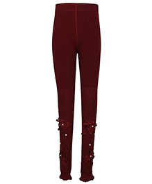 Cutecumber Partywear Leggings Floral Motif & Pearl Detail - Maroon