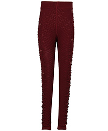 Cutecumber Full Length Party Wear Leggings - Maroon