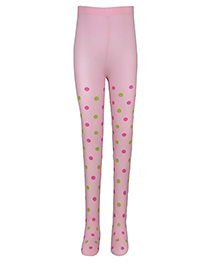 Cutecumber Polka Dot Footed Stockings - Pink