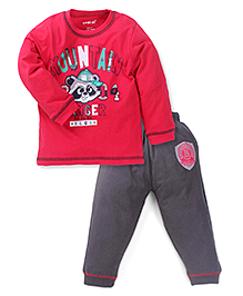 Doreme Full Sleeves T-Shirt With Bottom - Red Grey