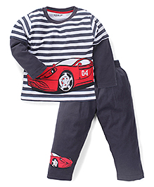 Doreme Doctor Sleeves Stripe T-Shirt And Bottoms Car Print - Grey White  Red