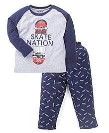 Doreme Raglan Sleeves T-Shirt And Bottoms Skate Nation Print - Grey Navy