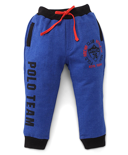 Olio Kids Full Length Track Pants With Drawstring - Blue