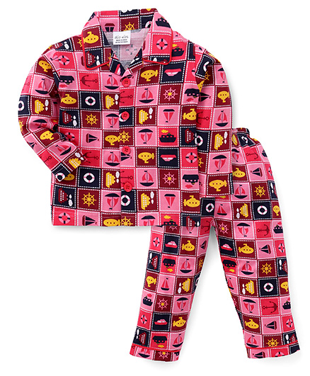 Olio Kids Full Sleeves Night Suit Multiprint - Pink
